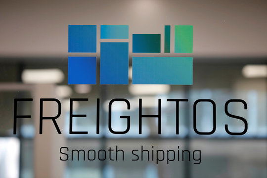 The logo of Freightos, an online marketplace for international shipping, is seen at their offices in Jerusalem