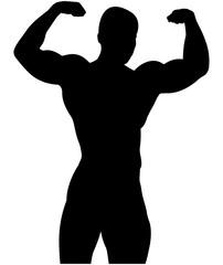 athletic bodybuilder pose double biceps black silhouette