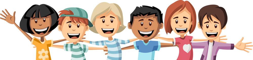 Group of happy cartoon children hugging each other. Big hug.