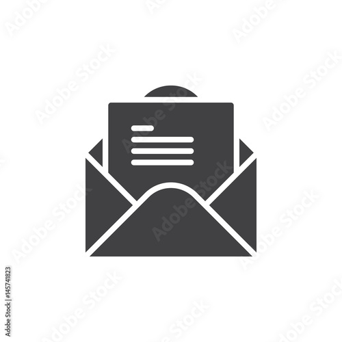 open envelope with letter icon vector filled flat sign solid pictogram isolated on white