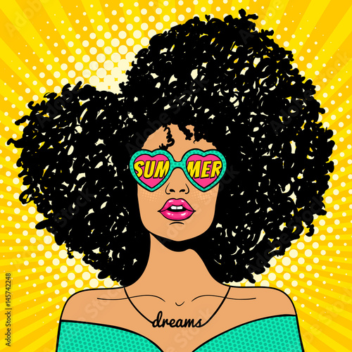 quotwow pop art face sexy woman with black afro curly hair