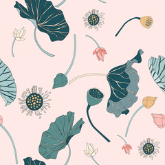 Seamless lotus vector pattern
