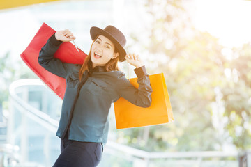 young women happy and smiling with shopping bag, shopping time