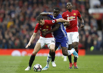 Manchester United's Matteo Darmian in action with Chelsea's Kurt Zouma