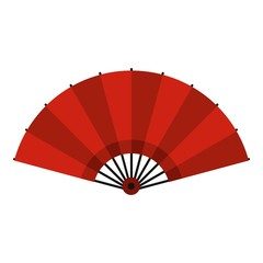 Red open hand fan icon isolated