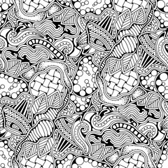 Abstract zen art doodle native seamless pattern. Waves, leaves and different textures monochrome background.