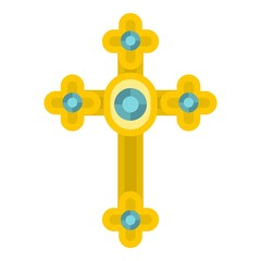 Golden cross with diamonds icon isolated