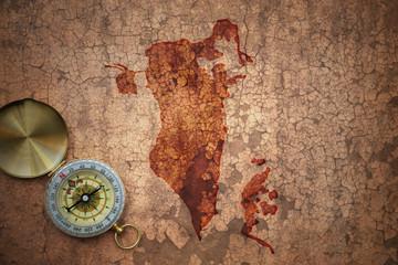 map of bahrain on a old vintage crack paper