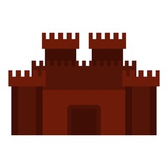 Fortress with gate icon isolated