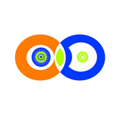 Illustration of infinity symbols with orange and blue rings