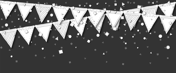 Garland flags. Comely celebration card with white stitched cutout paper garland flags and confetti on dark background. Party background with paper decorations. Vector illustration.
