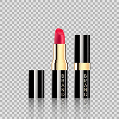 Lipstick cosmetics in package design mock-up realistic style isolated on Transparent background Vector Illustration.