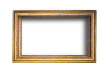 Gold vintage photo frame white background