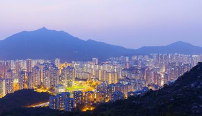 Hong Kong Tuen Mun skyline and South China sea
