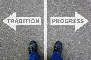 Tradition progress future management assessment analysis company business concept businessman