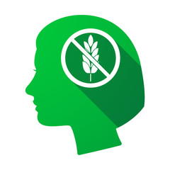 Isolated female head with  a gluten free sign