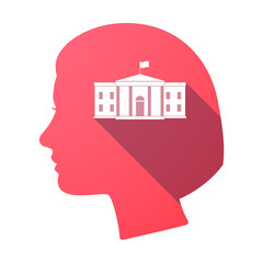Isolated female head with  the White House building