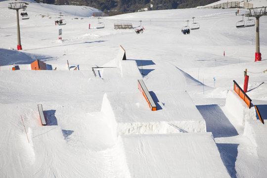 Snow park in ski resort