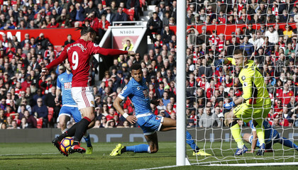 Manchester United's Zlatan Ibrahimovic misses a chance to score