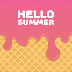 Hello Summer letters in Ice cream pattern cream and wafle texture vector illustration