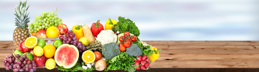 Wall Mural - Vegetables and fruits background