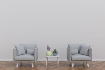 In the room with armchairs and a table for pasting wood ornament,3D rendering