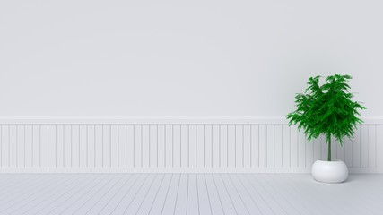 White empty room with plant. Living room interior,3D rendering