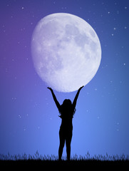 Girl holds the moon