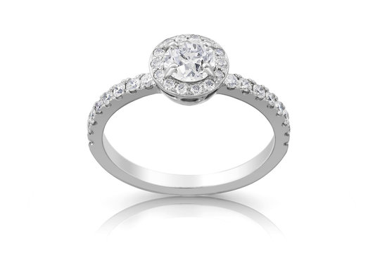 Silver diamond ring with gems