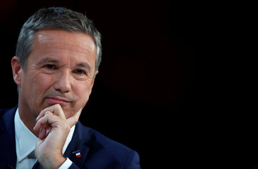 Nicolas Dupont-Aignan, Debout La France group candidate for the 2017 French presidential election, attends a meeting focused on healthcare and health insurance in Paris