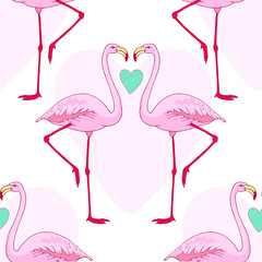 Vector pink flamingo bird seamless pattern. Hand drawn sketch with the wild animal. Romantic Valentines day style design with birds and hearts