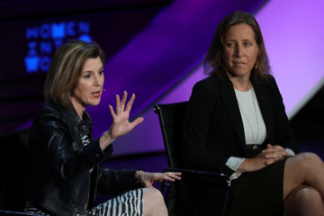 Sallie Krawcheck, CEO and Co-founder of Ellevate Network, speaks while Susan Wojcicki, CEO of YouTube, looks on during the Women in the World Summit at the David H. Koch Theater at Lincoln Center in New York