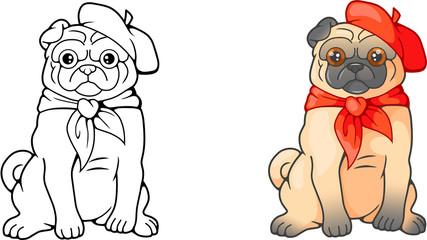 Cartoon cute Pug in red beret