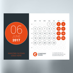 Calendar planner template for June 2017. Week starts Monday. Design print vector template isolated on blurred background
