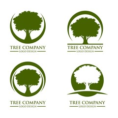 Green Tree Oak Logo Design Vector Template