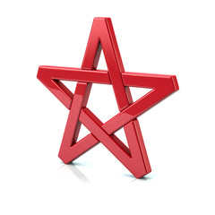 3d illustration of red pentagram