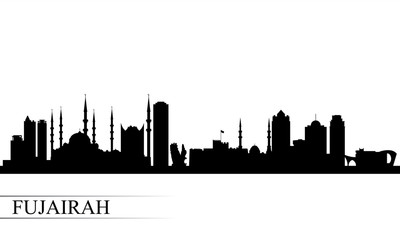 Fujairah city skyline silhouette background