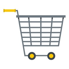 Empty supermarket cart with yellow handles icon