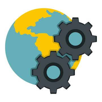 Earth and gears icon isolated