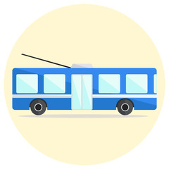 Colorful flat vector trolley bus icon, blue trolleybus icon, ecological city transport