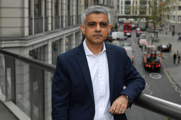 Mayor of London Khan poses at emissions and environment policy launch event in London, Britain