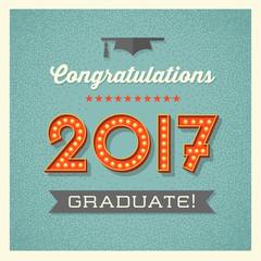 retro 2017 graduation card or banner design with vintage  light bulb sign numbers. Vector illustration.