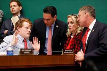Rep. Joseph Kennedy (D-MA), Rep. Pete Aguilar (D-CA), Rep. Debbie Dingell (D-MI) and Rep. Scott Peters (D-CA) speak during a marathon House Energy and Commerce Committee hearing on a potential replacement for the Affordable Care Act