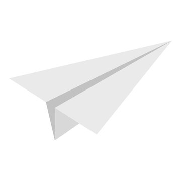 White paper plane icon isolated