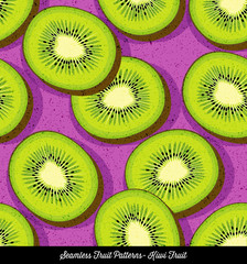 Seamless colorful pattern of sliced kiwi, for backgrounds, textiles, menu design. Vector Illustration.