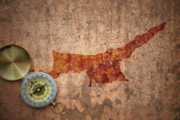map of northern cyprus on a old vintage crack paper