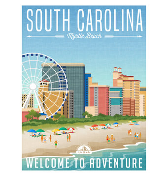 South Carolina travel poster or sticker. Vector illustration of Myrtle Beach with hotels, ferris wheel and people on the beach.