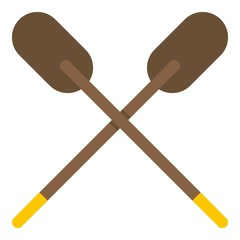 Two wooden crossed oars icon isolated