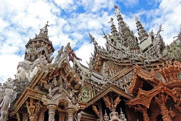 The roof of Sanctuary of Truth in Pattaya, Thailand