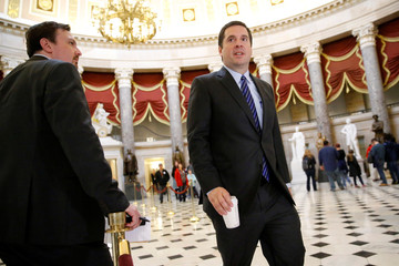 Nunes crosses paths with reporters as he departs the Speaker Paul Ryan's office at the U.S. Capitol in Washington